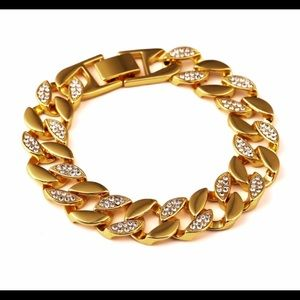 Other - New 18 k yellow gold Cuban iced out bracelet